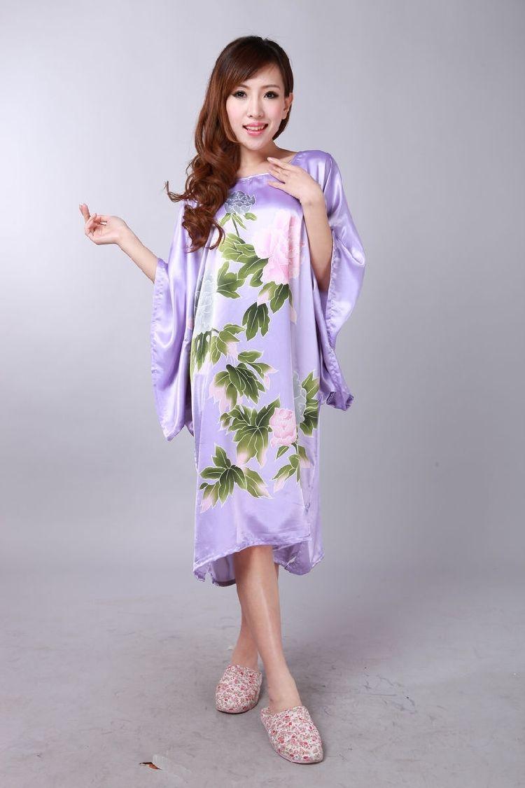 Oriental New Floral Women Robes Pyjama Bat shirt Sleep Nightdress sleepwear
