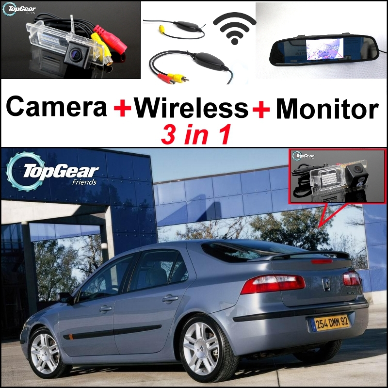 3 in1 Special Rear View Camera + Wireless Receiver + Mirror Monitor Easy Parking System For Renault Laguna 2 3 3 in1 special rear view camera wireless receiver mirror monitor back up parking system for citroen ds3 ds 3 2009 2015
