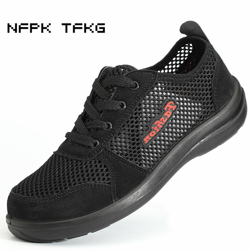 new fashion large size men breathable mesh steel toe caps work safety summer shoes comfort and light anti-puncture tooling boots fashion men safety work shoes mesh breathable anti puncture tooling low boots steel toe cap protect footwear boots safety shoes