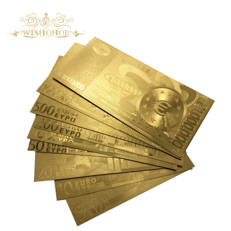 Wishonor 9pcs/lot <font><b>Euro</b></font> <font><b>Banknotes</b></font> 5 10 20 50 100 200 500 <font><b>1000</b></font> 1 Million <font><b>Euro</b></font> Gold <font><b>Banknote</b></font> in Gold Plated Money For Gifts image