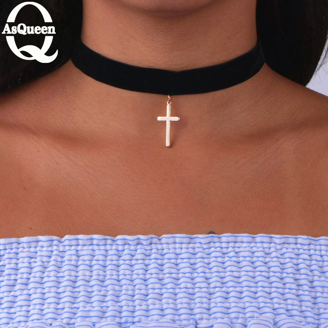 Black Flannel Cloth Choker With Cross Pendant Necklace