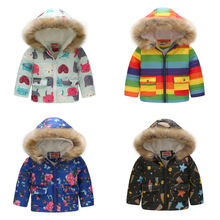 Winter Fashion Warm Cotton Printed Child Long Coat Fur Collar Baby Girls Boys Jackets Children Outerwear For 2-7 Years Old недорого