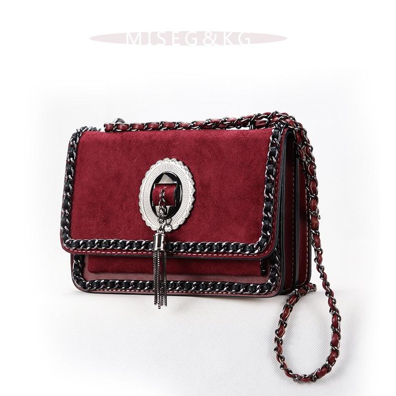 Chaîne en métal gland bandoulière sacs pour femmes 2019 haute qualité PU cuir daim sacs à bandoulière mat Chic mode sac à main