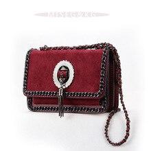 Metal Chain Tassel Crossbody Bags for Women 2019 High Quality PU Leather Suede Shoulder Bags Matte Chic Fashion Handbag