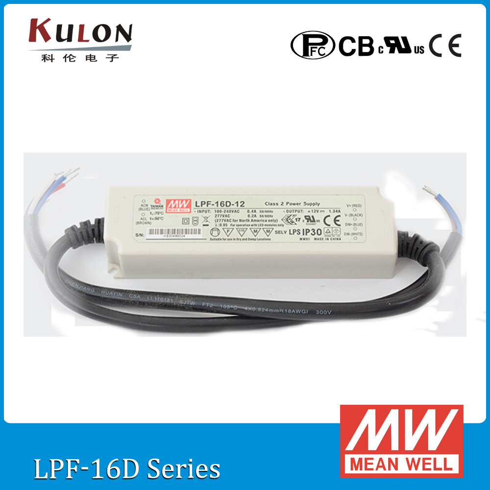 Original Meanwell driver LPF-16D-24 16W 0.67A 24V Constant Current Dimming Power Supply with PFC IP30 for LED lighting genuine meanwell 40w pld 40 350b 40w 350ma led power supply constant current ip42 pfc function for indoor led lighting