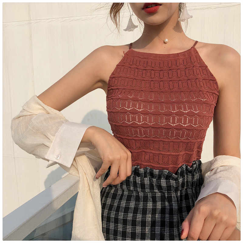 Women Slim Knitting Halter Neck Hollow Out Camisole Tops Female Crop Tanks Tops Sleeveless Solid T shirts Tees