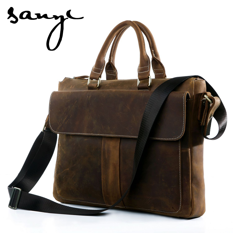 SANYI Hot New Fashion Retro Men Bag Crazy Horse Leather Men's Handbags Casual Business Shoulder Bag Briefcase Messenger Bags spring children girls clothing set brand cartoon boys sports suit 1 5 years kids tracksuit sweatshirts pants baby boys clothes