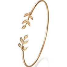 11.11 Hot New Fashion Open the Leaf Strand Bracelets Women Jewelry Double Gold Silver Bilezik Opening Gift Mujer Pulseras(China)