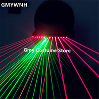 T91 Ballroom dance costumes laser man projector green red laser beams laser light glasses dj party stage performance wears disco