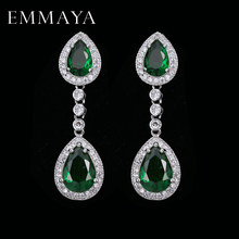 EMMAYA Trendy Water Drop CZ Crystal Earrings for Women Vintage Silver Color Wedding Party Earrings Jewelry brinco(China)