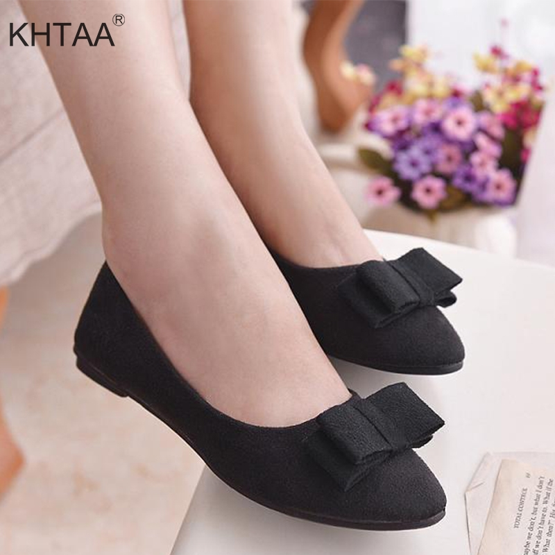 2018 Autumn Slip On Women's Shoes Solid Bow Tie Korean Style Casual Woman Flat Shoes Fashion Comfortable Flock Zapatos Mujer ym 2018 eu 35 40 spring autumn new fashion casual bow tie womens flat shoes woman shallow peas shoes ladies girls zapatos mujer
