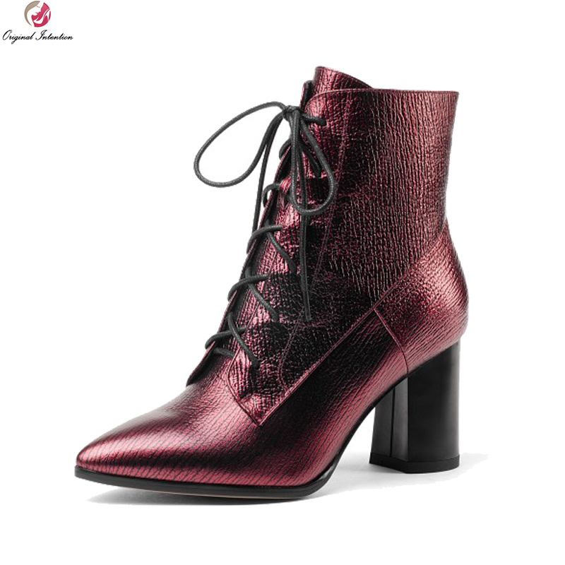 Original Intention Stylish Women Ankle Boots Pointed Toe Square Heels Boots Elegant Silver Wine Red Shoes Woman US Size 4-8.5 creativesugar elegant pointed toe woman