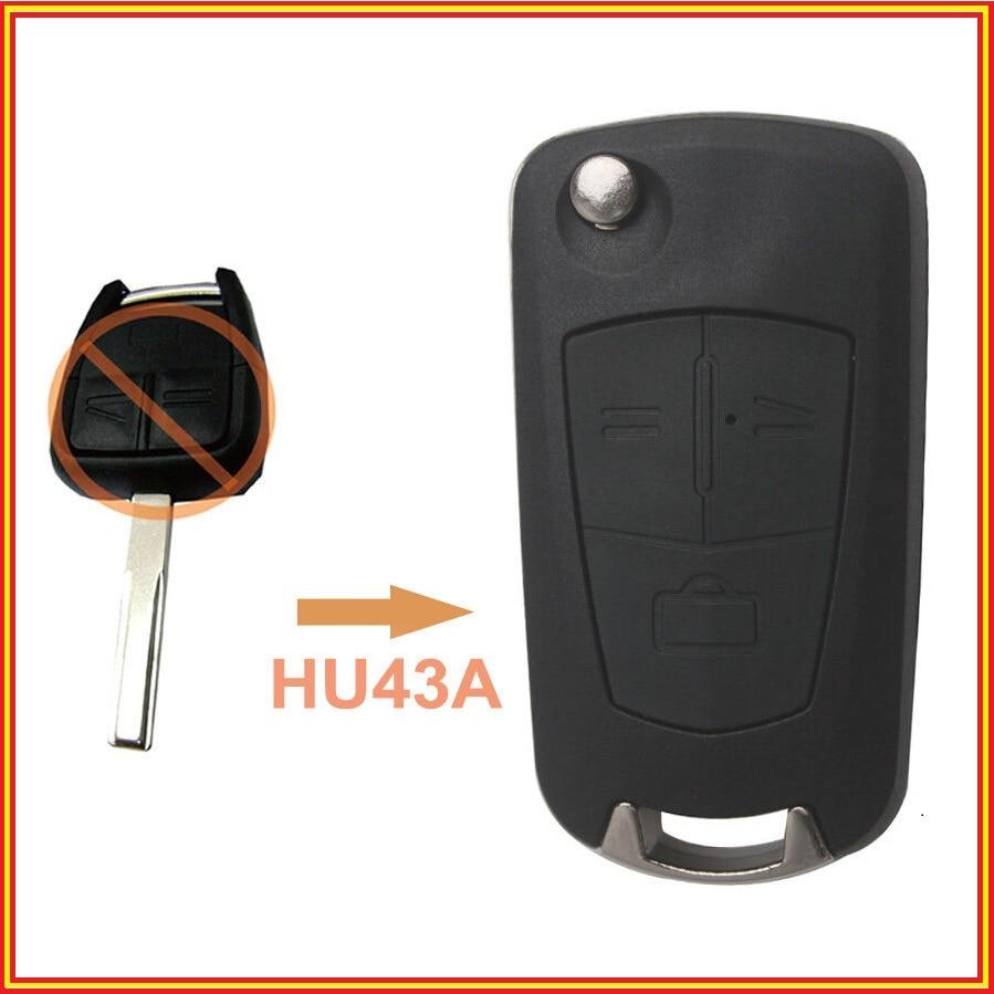 Prix pour Nouveau Flip Clé Shell de Commande À Distance Case 3 Bouton pour Opel Vectra Antigo Omega Suprema Agile Montana HU43A