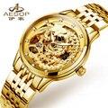 Relógio marca As Mulheres de Luxo Da Marca Skeleton Automatic Self-Vento Diamante Luminosa China Phoenix Dourado Relogio masculino