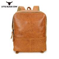 2019 новый мужской рюкзак для ноутбука, высокое качество, кожаная повседневная школьная сумка для подростков, винтажный рюкзак на молнии, муж