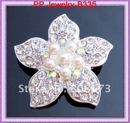 Посеребренный Spakle Кристалл шипованных цветок брошь/искусственный жемчуг цветок брошь/свадебный букет