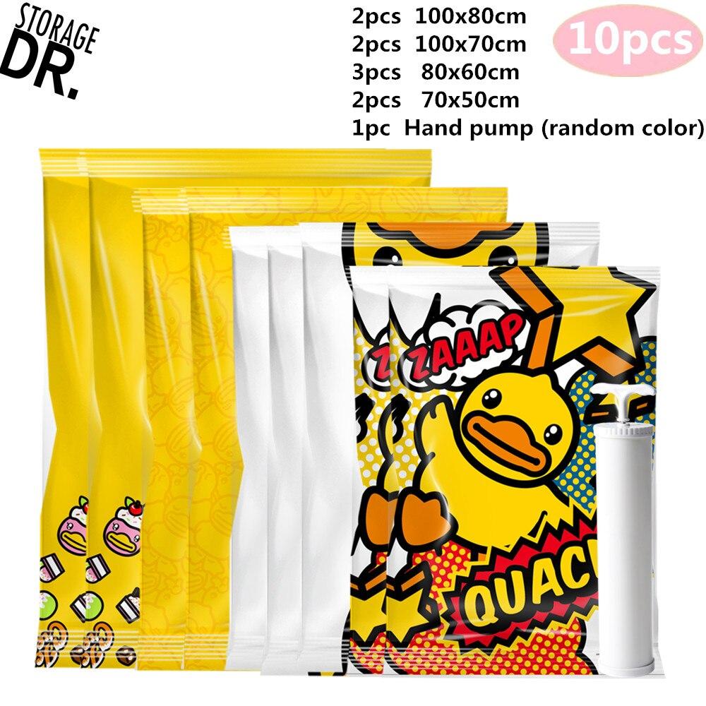 DR Storage Bag Vacuum Bags for Clothes Soft Toys Wardrobe Organizer Vacuum Zakken Kleding Room Accessories Cartoon Space Bag