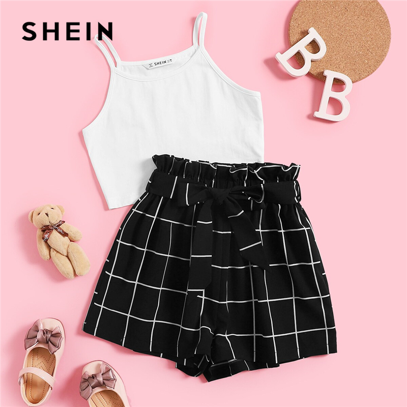 SHEIN Kiddie White Solid Cami Top And Paperbag Waist Set Plaid Shorts Girls Sets 2019 Summer Frill Wide Leg Belted Casual Outfit(China)