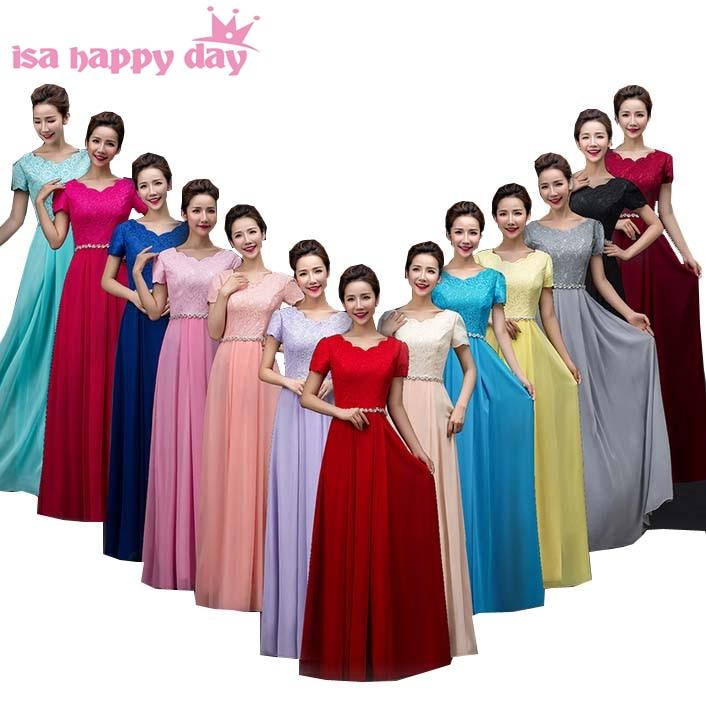 Classy Long Chiffon Dress Modest Semi Formal Bridesmaides Gray Red