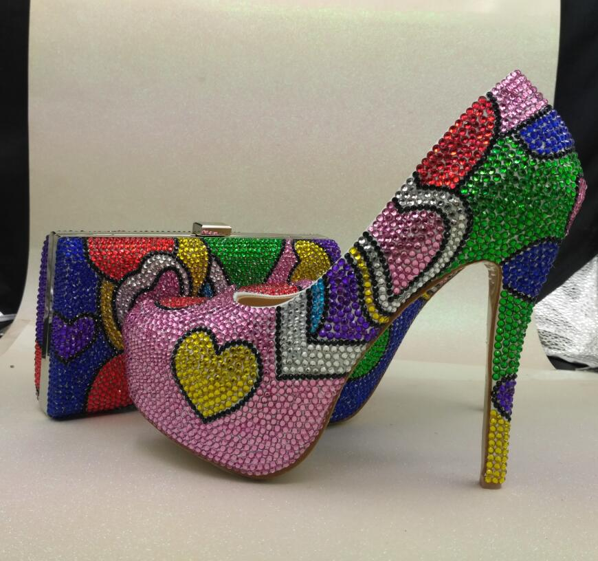 muilti color ehinestone wedding shoes high heels font b woman b font platform shoes big size