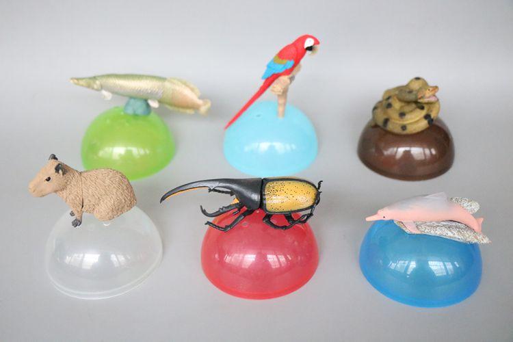Modèle de jouet de capsule de serpent de perroquet de scarabée de poissons de figure de pvc modèle de jouet de 6 pièces/ensemble
