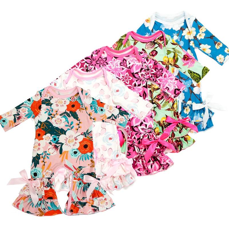 Ruffle rompers Floral printed Long Sleeve Jumpsuit Baby girls Pajamas Infant Sleeper Pajamas Spring Autumn baby clothing J043