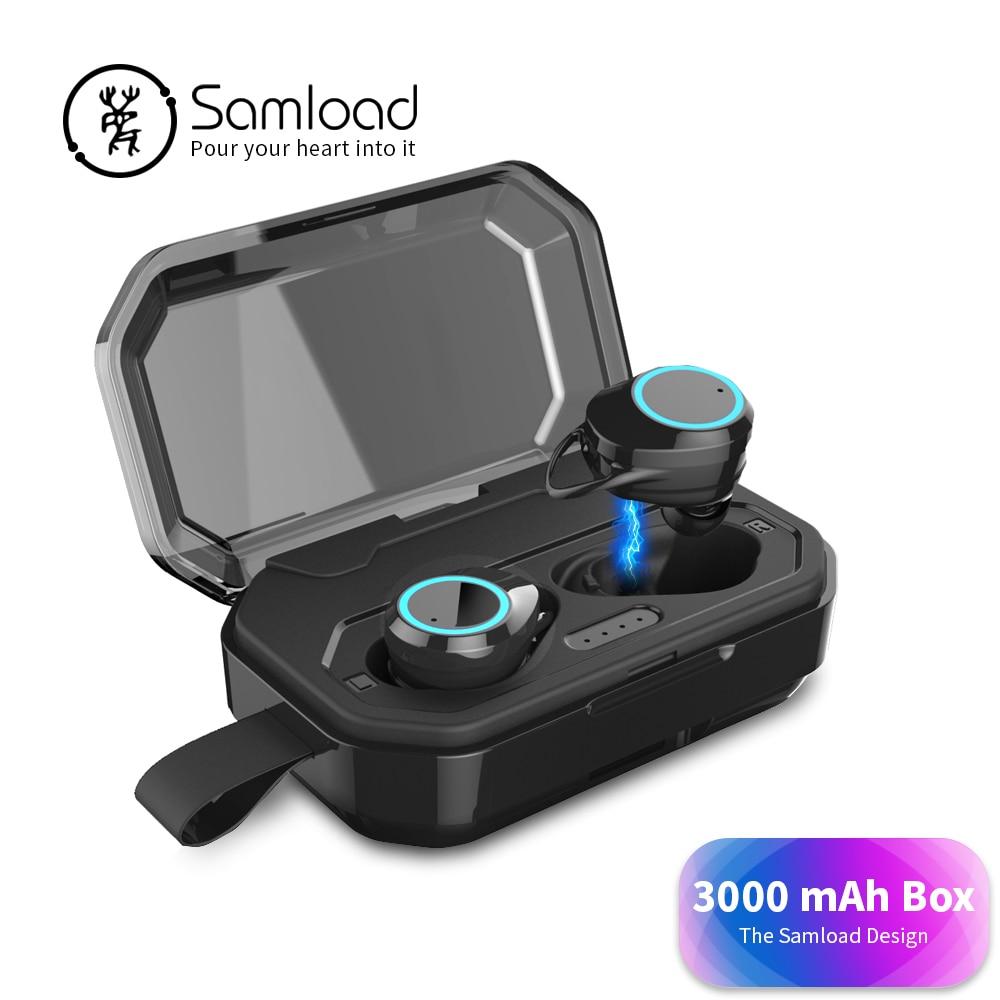 Samload Bluetooth 5,0 auricular de auriculares con gran capacidad de carga caso manos libres estéreo de juegos de auriculares para iPhone Sony Xiaomi
