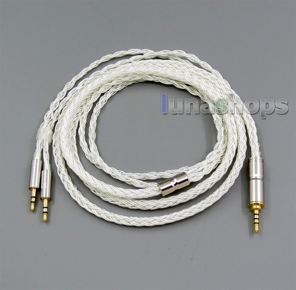 LN006134 16 Cores Pure Silver Plated Cable for Hifiman HE560 HE-350 HE1000 V2 Headphone XLR 2.5mm 4.4mm 3.5mm to 2