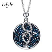 Cdyle Crystals From Swarovski Austrian Rhinestone Pendants Women Necklaces Round Shaped Jewelry Elegant Fashion Blue Fish