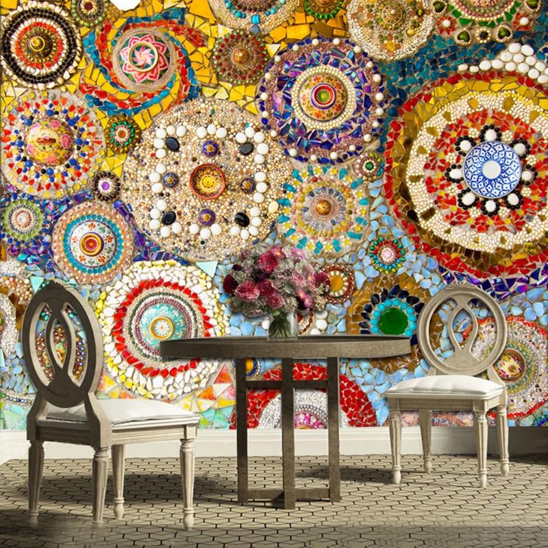 Custom 3D Wall Murals Wallpaper Mosaic Tile Abstract Art Wall Painting Living Room TV Backdrop Wall Paper Papier Peint Mural 3D