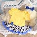 Pinkbabi Baby Rompers 2 Шт. за Комплект Желтый Девочка Животных Туту Платье Повязка для 0-12мес Бесплатная Доставка