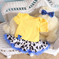 Pinkbabi Baby Rompers 2PCs per Set Yellow Baby Girl Animal Tutu Dress Headband for 0-12Months Free Shipping