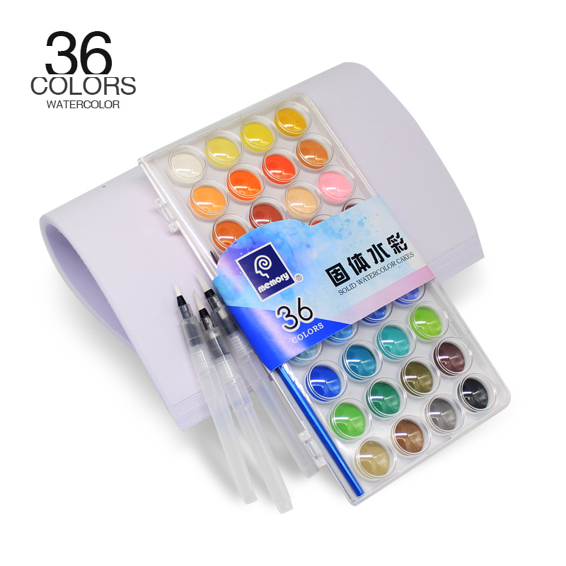 Memory 36Colors Art Travel Portable Solid Watercolor Paint Cakes Kit For Kids Water color Paint Set plus 20 Sheets Paper
