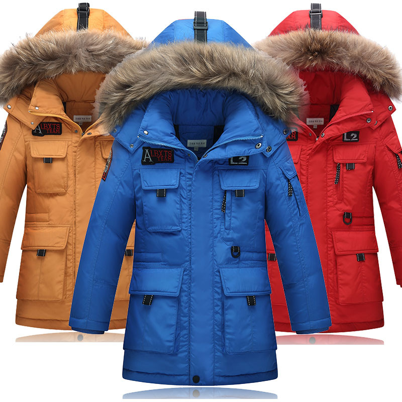 High Quality 2017 Winter New Boys Down Jacket for Boys Real Raccoon Fur Hooded Outerwear Kids Children Warm Down Coat aimeixiuyi children real raccoon fur cotton padded jacket coat winter kids clothes boys girls warm hooded parkas outerwear