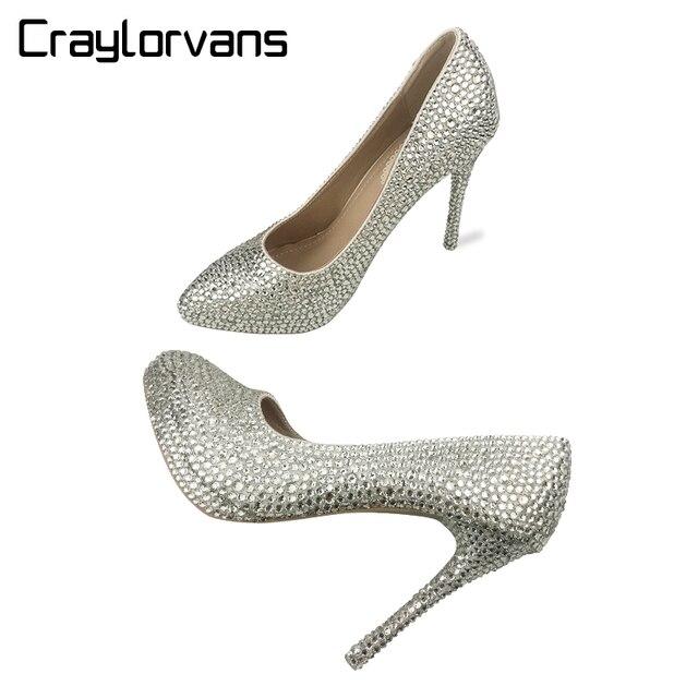 732f8374329a Craylorvans Silver bling fashion design women high heel pumps Rhinestone  Party Wedding Platform stiletto shoes 10.5cm