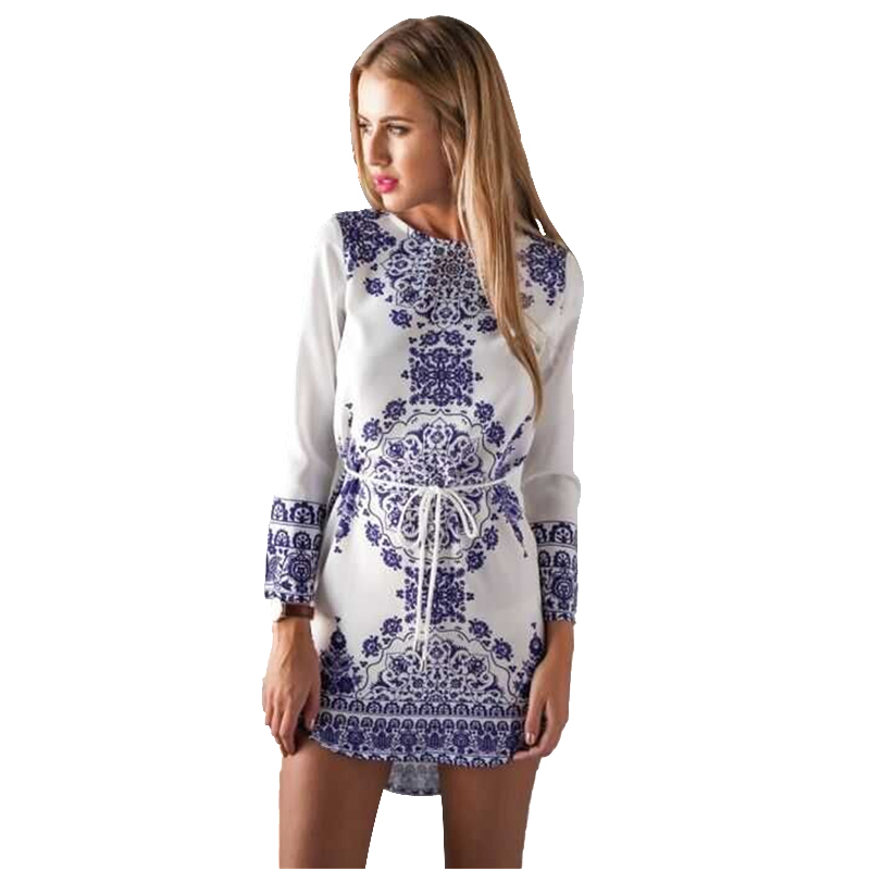 Russia Lady Vintage Porcelain Print Dress High Quality Blue White Chiffon Long-sleeve Casual Dresses Sashes Tie Waist Drawstring