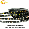 Black PCB LED Strip 5050 IP65 Waterproof DC12V 60LED/m 5m/lot Flexible LED Light.