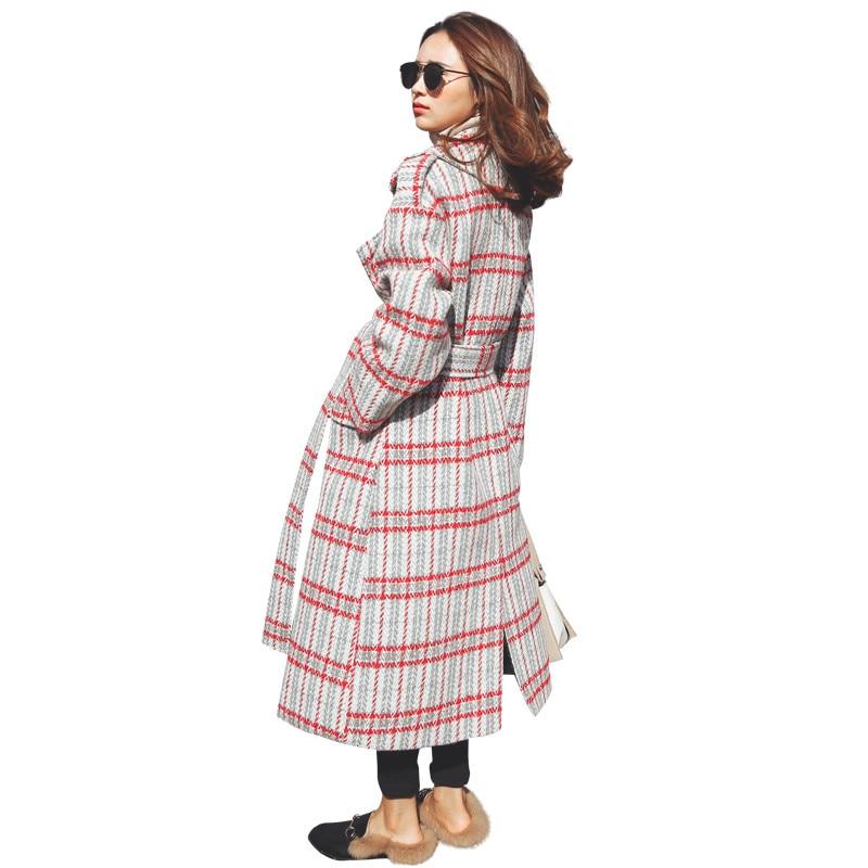 Traje Cuello Manga A Vestir De Casual Las Ioqrcjv Exteriores Moda 2017 Cuadros Invierno Lana Mezcla Prendas Largo Larga Mujeres F18 Abrigo Plaid Acogedor Elegante w8fpz0