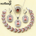 XUTAAYI Red Garnet White Created Topaz Wedding Jewelry Set 925 Sterling Silver Women Earrings Ring Necklace Pendant Bracelet