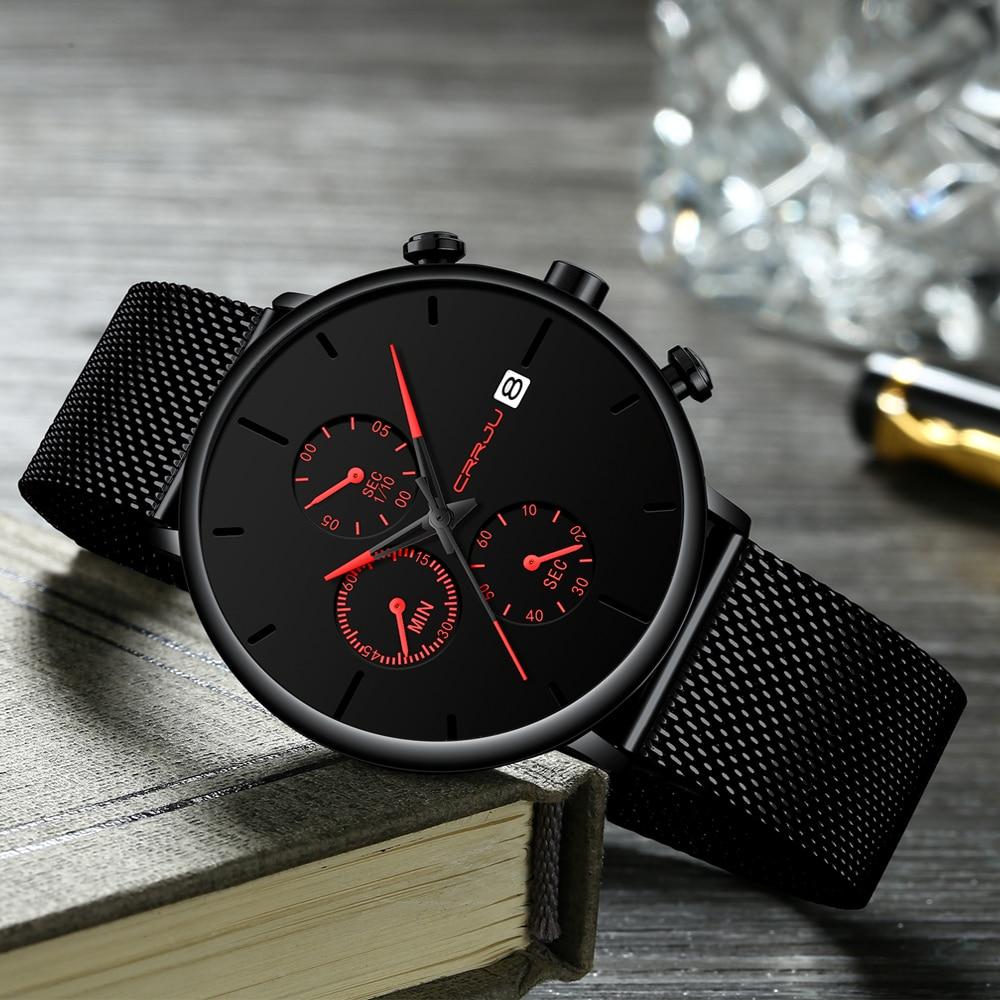 CRRJU mode montre hommes étanche mince maille bracelet minimaliste montres pour hommes Quartz sport montre horloge Relogio Masculino 4