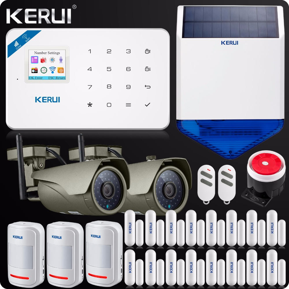 WIFI GSM Burglar Home Security Alarm System Touch Screen 1080P Wifi IP Camera Outdoor Solar Siren  ISO Android Smart APP