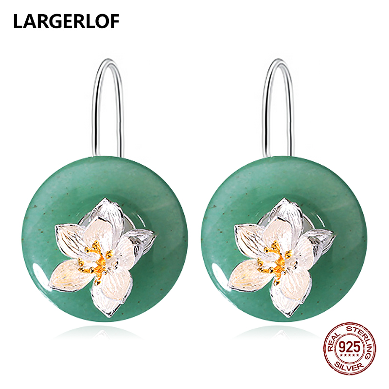 LARGERLOF 925 Sterling Silver Drop Earrings For Women Silver 925 Jewelry Jade Earrings Female ED490063 цена 2017