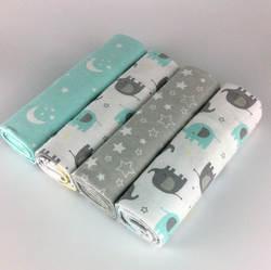 Новый цвет 4 шт./упак. 100% хлопок фланель получения одеяло для новорожденного красочные детское одеяло простыня мягкое одеяло 76x76 см