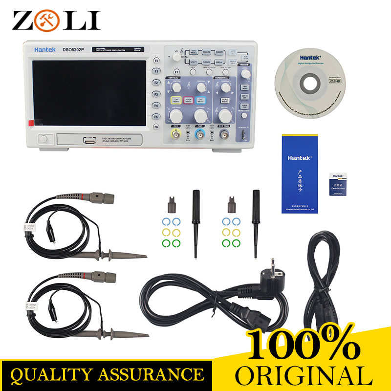 ON SALE Hantek DSO5202P Digital Oscilloscope Portable 200MHz bandwidth 2 Channels Handheld LCD USB Oscilloscopes DSO5202P hantek 6022bl pc usb oscilloscopes digital portable 2channels 20mhz bandwidth osciloscopio portatil 16channels logic analyzer