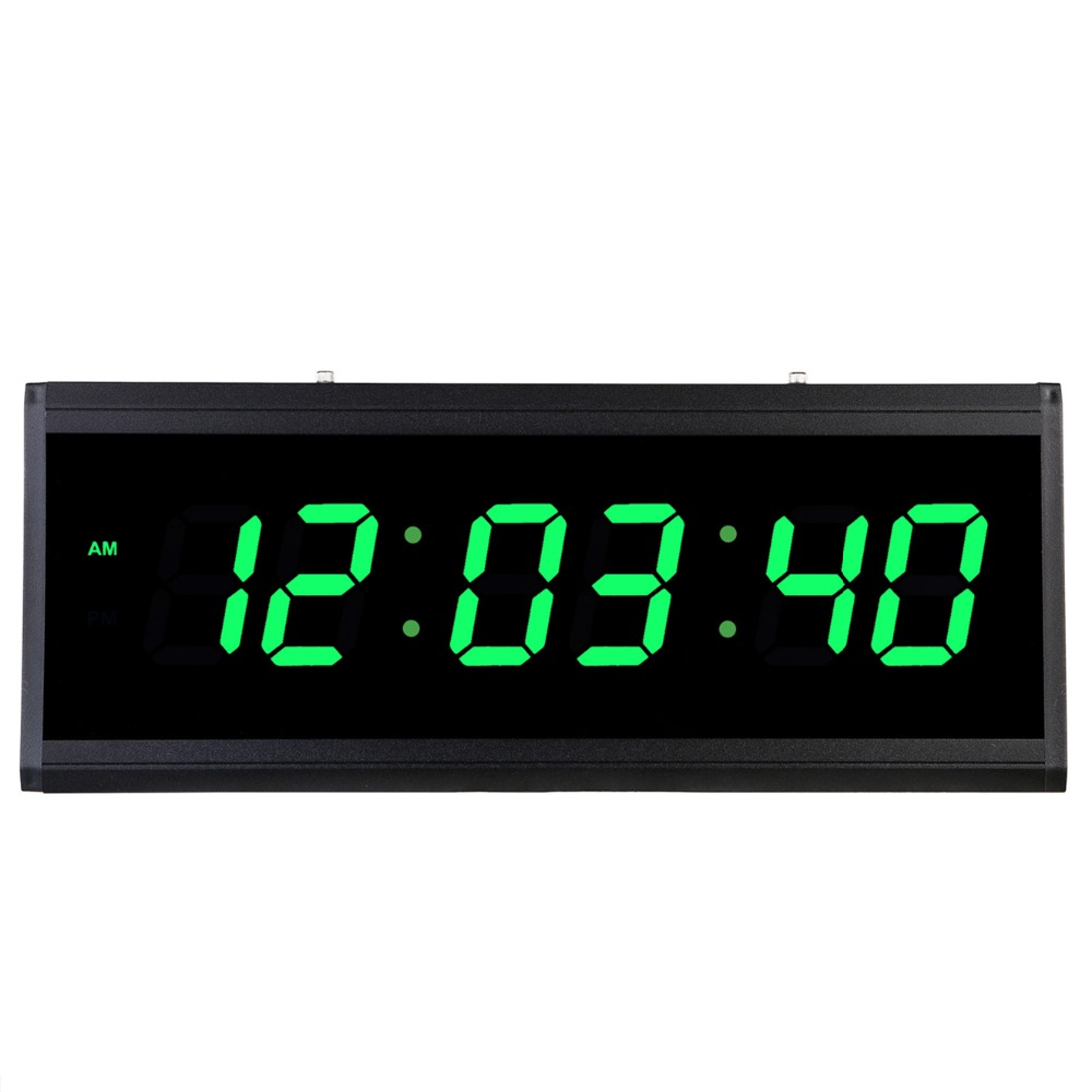 LED digital electronic clock time display Stylish large size digital wall clock Living room bedroom office decoration hanging-in Wall Clocks from Home & Garden    1