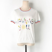 Newest Womens Knitted T shirts Embroidery Loving You Letters 2019 Summer Designer Ladies Sweet Casual Tees High Quality Pullover