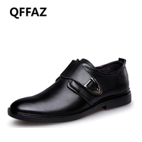QFFAZ New Genuine Leather Men Dress Shoes High Quality Oxford Shoes For Men Lace Up Business