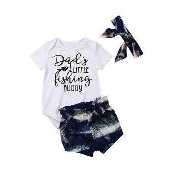 Verano Infante bebé niño niña ropa amigo corto Romper Tops pantalones cortos de pescado diadema trajes 3 piezas ropa para niñas pequeñas