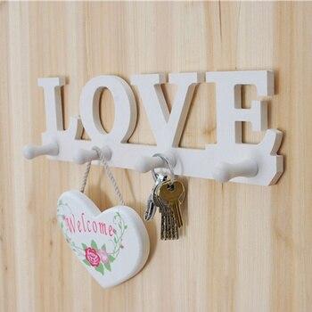 Nuevo Año 4 ganchos Blanco Amor forma abrigo sombrero llave almacenamiento soporte pared percha hogar puerta decoración 37*10*0,9 cm