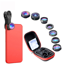 7 in 1 Phone Lens Kit Fisheye Super Wide Angle Macro Lens CPL Filter Kaleidoscope and 2X zoom Lens цена и фото
